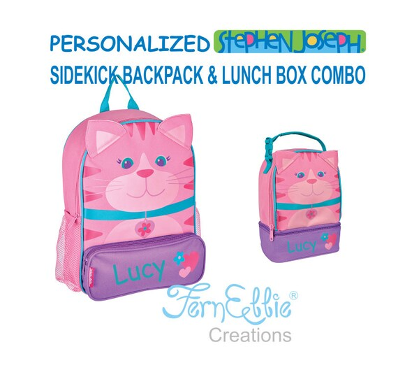 Personalized Stephen Joseph CAT Sidekick Backpack and Lunch Pal Combo.