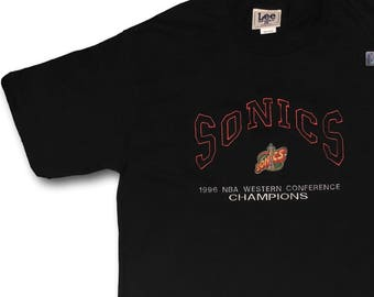 Deadstock Vintage 90's SEATTLE SUPERSONICS Sonics Lee Sport Cotton Tee T-Shirt Sz L Made in usa