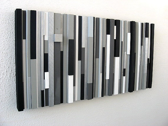 Black And White Abstract Art Modern Wall Art Wood Sculpture