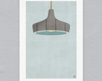 Midcentury lampshade - Limited edition A3 print