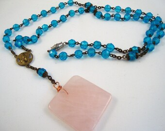 "26"" vintage turquoise crystal and brass rosary with genuine rose quartz stone on a 3"" drop"