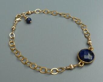 Stackable Bracelet, Sapphire Bracelet, Gemstone Layering Bracelet, Delicate Bracelet, Gold Stacking Bracelet, September Birthday
