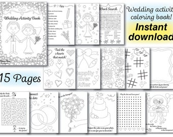 Wedding Kids Coloring Activity Book Reception PDF Printable Instant Download