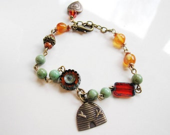 Beehive Bracelet, Orange Czech Beads, Bee Hive Charm, Vintage Style Charm Bracelet, Fall Jewelry, Blueartichokedesigns