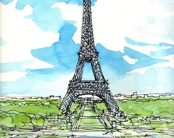Paris Eiffel Tower 2nd art print from an original watercolor painting