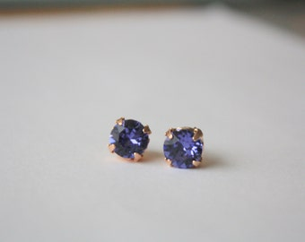 Tanzanite Swarovski Crystal Earrings, Rose Gold Plated , Prong Set Crystal Studs