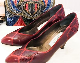 Vintage Bally Red Leather Pumps Heels - sz 7M - Free Ship