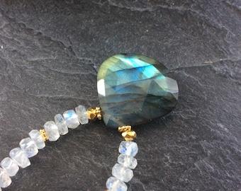 Labradorite & moonstone necklace - Blue flashy gemstone briolette pendant, Boho beaded jewellery, rainbow moonstone necklace, lovers gift