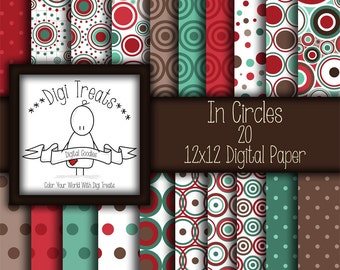 30% OFF~In Circles, digital scrapbook paper pack- 12x12 digital papers (3600px-3600px) digital scrapbooking, card making- INSTANT DOWNLOAD*