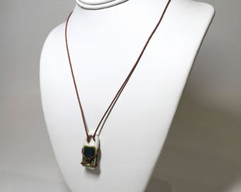 Blue-Green Glazed Pendant on Leather Cord