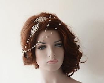 Bridal Hair Accessories, Rhinestone and Pearl Headband, Wedding hair vine, Bridal Headband,  Hair Jewelry