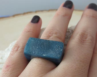 Blue druzy agate carved ring, Blue agate ring, agate carved ring, statement ring