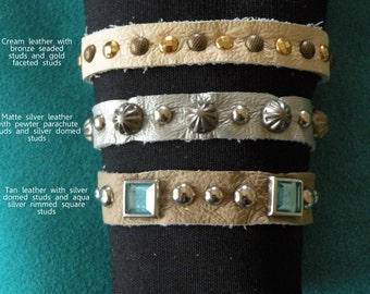 Leather Bracelet Snap Studs 3 styles 3 sizes
