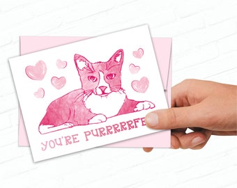 Printable Cat Valentines Day Card, Cute Cats Valentine, Illustrated, Hand Drawn Kitty, Sweet Valentine Cards, Cat Pun Card, You're Purrfect