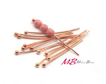 100 1 Inch Rose Gold Plated Ball Head Pins, 21 Gauge