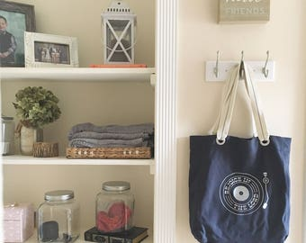 Rejoice in the Lord retro record player canvas school bag navy, shoulder canvas bag, tote everyday bag, farmers market bag, big bag tote