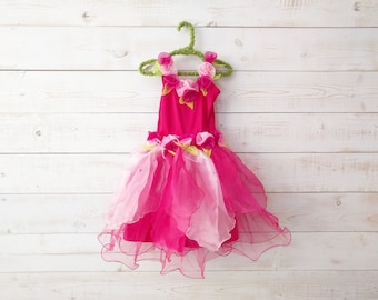 Rose Fairy Dress, Flower Girl, Fairy Dress, Neon Dress, Floral Dress, Wedding, Flower Costume, Ballet Skirt, Dancewear, Flower Girl Dress
