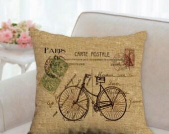 Bicycle Postcard Pillow