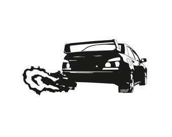 "Subaru WRX STi Sticker Shooting Flame - Custom Vinyl Decal 8"" x 3.5"" Car Truck"