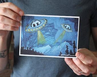 Cats in UFOs; Fine Art Print