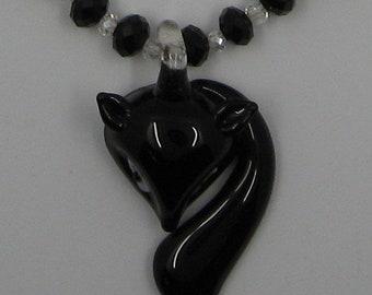 Murano Glass Fox necklace, black pendant, glass beads