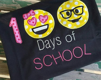 100 Days of School Emoji Shirt Nerd Emoji Shirt Happy Emoji Shirt One Hundred Days of School shirt