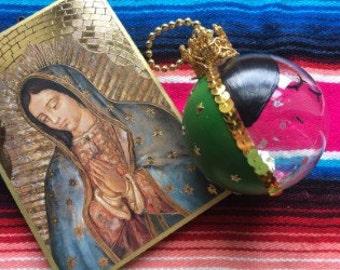 Christmas Glass Ornament, handpainted La Virgen de Guadalupe, The Virgin