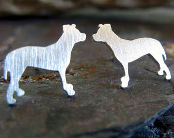 Pit Bull pitbull stud earrings. American Staffordshire Terrier dog silhouette jewelry. Sterling silver or 14k gold. Rescue dog hound gift.