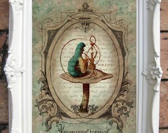 ALICE in Wonderland Quote Art Print. Shabby Chic Decor. Vintage Alice Decor Wall Art. Tea Party. Wonderland decor. Alice print. Code:A014