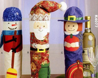 Free Us Ship Craft Sewing Pattern Uncut Kwik Sew 4077 Craft Sewing Pattern Whimsey Christmas Thanksgiving Snowman Wine Bottle Bags Holiday