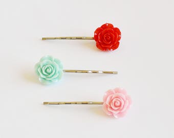 Set of 3 Assorted Color Rose Resin Bobby Pin - Hairpins - Hair Accessories - Colorful Hair Clips - Girl Hair Pin - Bobby Pins Set