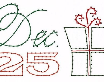 Dec 25th Christmas Gift Paper Embroidery Pattern for Greeting Cards