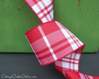 """Plaid Wired Ribbon, 2  1/2"""" wide, Red and White  Check - THREE YARDS - """"Woods Red"""", Christmas, Valentine Craft Decor Wire Edged Ribbon"""