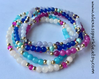 Jade beaded bracelets set of five - Set de cinco pulseras de piedra jade