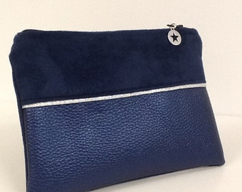 Women's navy purse in suede, imitation iridescent, silver trim / Women's purse vegan fabric, glitter, star / women's gift