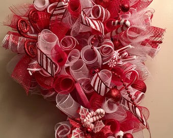 Candy Cane Red And White  Christmas Curly Deco Mesh Wreath