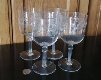 Etched Wine Glasses, Vintage Stemware, Vintage Wine Glasses, Crystal Wine Glasses, Etched Stemware Set, Crystal Stemware, Large Wine Glasses