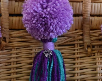 Lavender, Purple and Teal Pom Pom & Tassel Clip-on with Horse Charm -  Keychain, Beach Bag or Backpack Flair Clip
