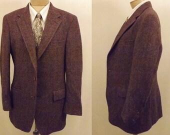60's Harris Tweed Palm Beach Brown Sport Coat Size 40