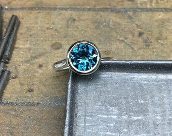 Blue Topaz Ring, London Blue Topaz Ring, London Blue Topaz, London Blue Topaz Engagement Ring,  Bezel Ring, Silver, White Gold, Yellow Gold