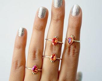 Rings * Swarovski * Stacking Ring * Crystal Ring * Silver Ring * Boho Ring * Boho Chic * Swarovski Crystal * Gifts * Delicate Ring * Pink