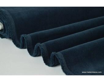 Tissu velours côtelé coton Marine .x1m
