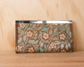 Womens Wallet - Leather clutch style checkbook wallet with Tooled Flowers - Sage, Gold and Antique Brown - Diva Clasp