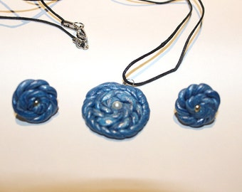 Polymer Clay Blue Earring and Pendant