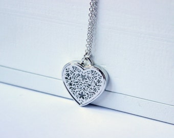 Heart necklace, silver tone necklace, silver charm necklace, filigree necklace, long necklace, handmade necklace, filigree charm, filigree