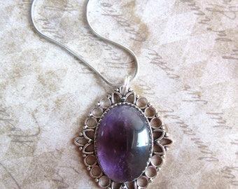 Silver Amethyst Necklace, February Birthstone Necklace, Purple Gemstone Necklace, Gem Necklace, Lilac Amethyst Jewelry , Healing Crystal