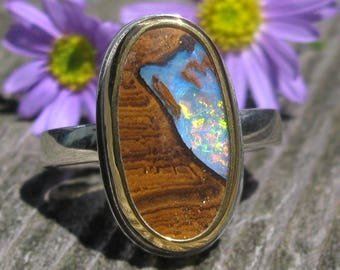 Australian Koroit Boulder Opal Ring - Sterling Silver 22K Gold Boulder Opal ring - US size 7 3/4 - mixed metal Opal ring - size 7.75
