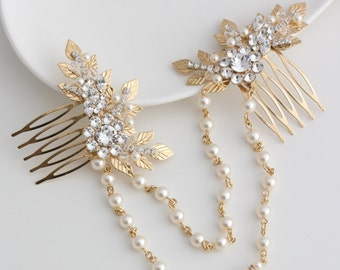 Wedding Headpiece Gold Hair Chain Leaf Head Piece Draped Bridal Hair Combs Set Crystal Leaf Hair Vine Hair Accessory for Bride ANWEN
