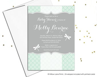 Gray and mint baby shower invitations | neutral baby shower invites | Printable or printed - WLP00768
