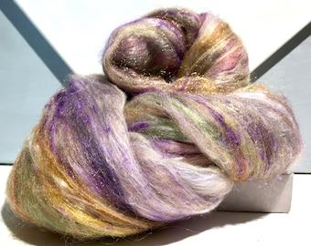"fiber art batt, 4.5 oz, felting wool, spinning fiber ""Silken Treasure"" gold tan white sage green copper violet champagne"